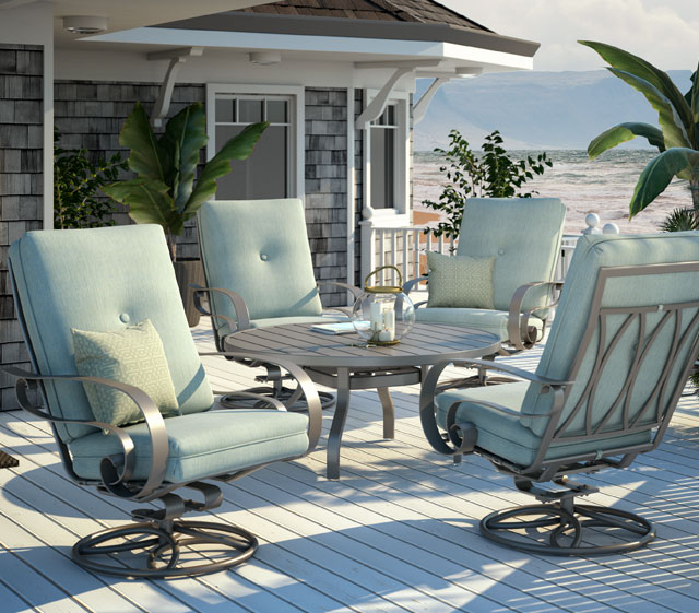 Featuring Homecrest Luxe cushions, Emory offers tremendous comfort and  value in well-proportioned pieces that offer seating options for any space. - Outdoor Patio Furniture Emory Cushion Homecrest Outdoor Living